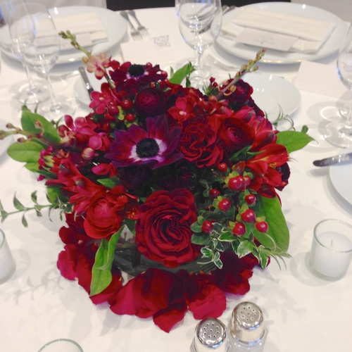 wedding flowers christopher flowers seattle red burgundy winter local gay wedding marriage equality four seasons anemone garden rose berry orchid centerpiece petals