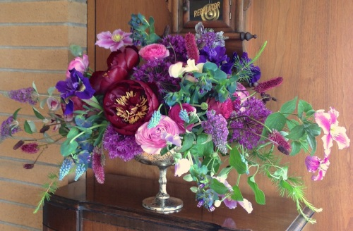 Christopher Flowers LLC centerpiece purple magenta blue peony clematis rose iris local organic seasonal flowers