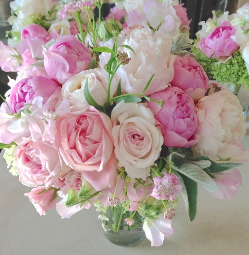 Christopher Flowers Seattle wedding bouquet blush pink ivory peony garden rose sweet pea hydrangea green ivory local organic