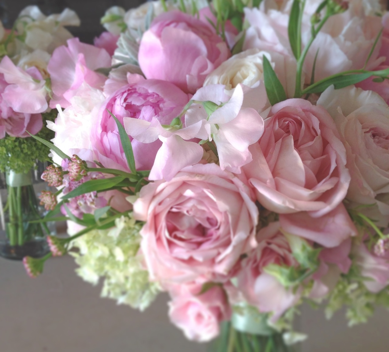 christopher flowers seattle bouquet blush pink green ivory peony garden rose sweet pea local - Garden Rose And Peony