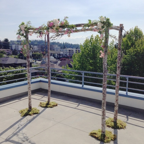 Christopher Flowers Seattle wedding arbor ceremony birch natural woodland blush pink peony garden rose sweet pea moss