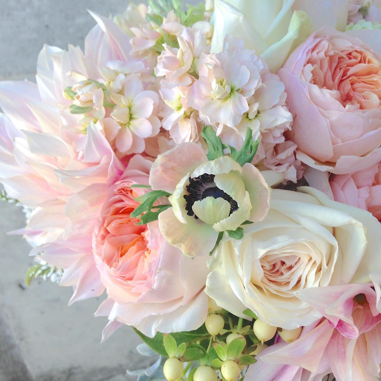 wedding bouquet peach blush garden rose dahlia soft anemone stock cream