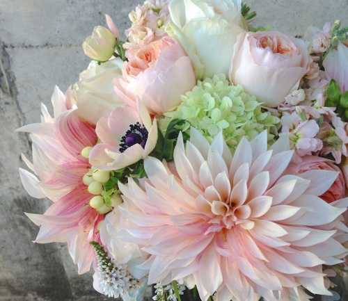 wedding bouquet peach blush garden rose dahlia soft anemone stock cream