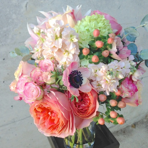 wedding bouquet peach garden rose dahlia soft anemone stock cream coral