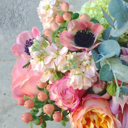 wedding bouquet peach coral garden rose dahlia soft anemone stock cream