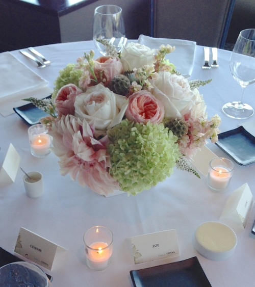 wedding reception centerpiece garden rose dahlia hydrangea soft peach cream green
