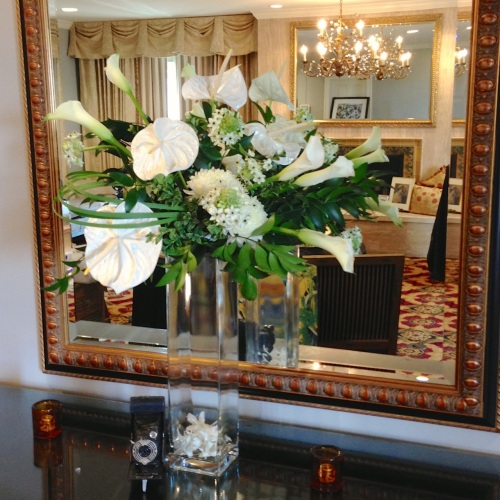 Christopher Flowers Seattle orchids art-deco party white green anthurium calla buffet