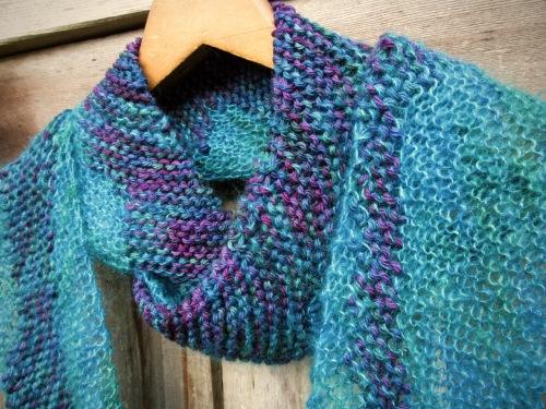 knit scarf handmade silk merino natural unique