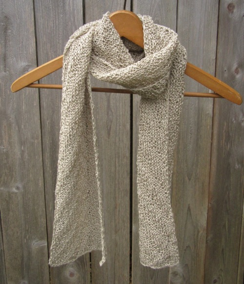linen scarf natural vegan knit