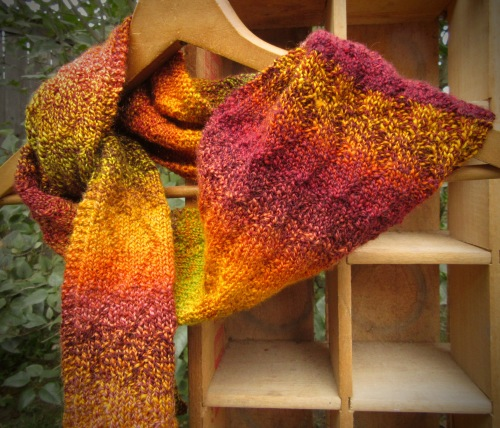 wool scarf gold orange green brown burgundy plum natural handmade christopher knits