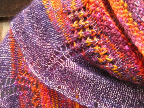 shawl handmade accessories orange purple silk