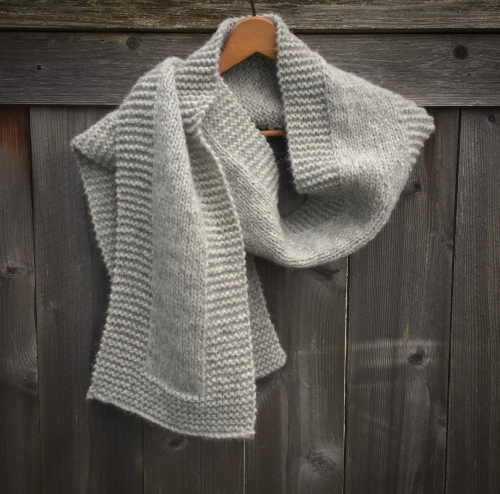 scarf knit grey handmade natural gray
